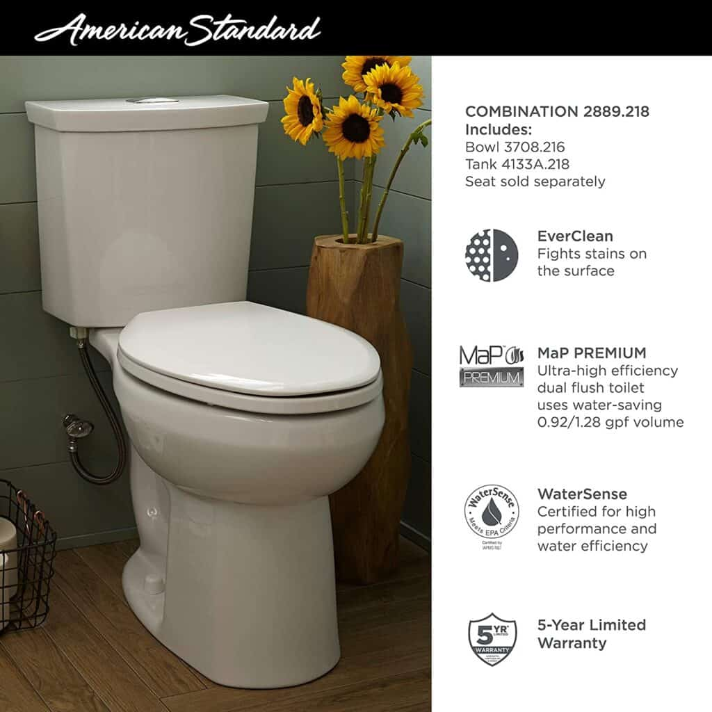 American Standard 2889218.020 H2Option Dual Flush Round Front Toilet